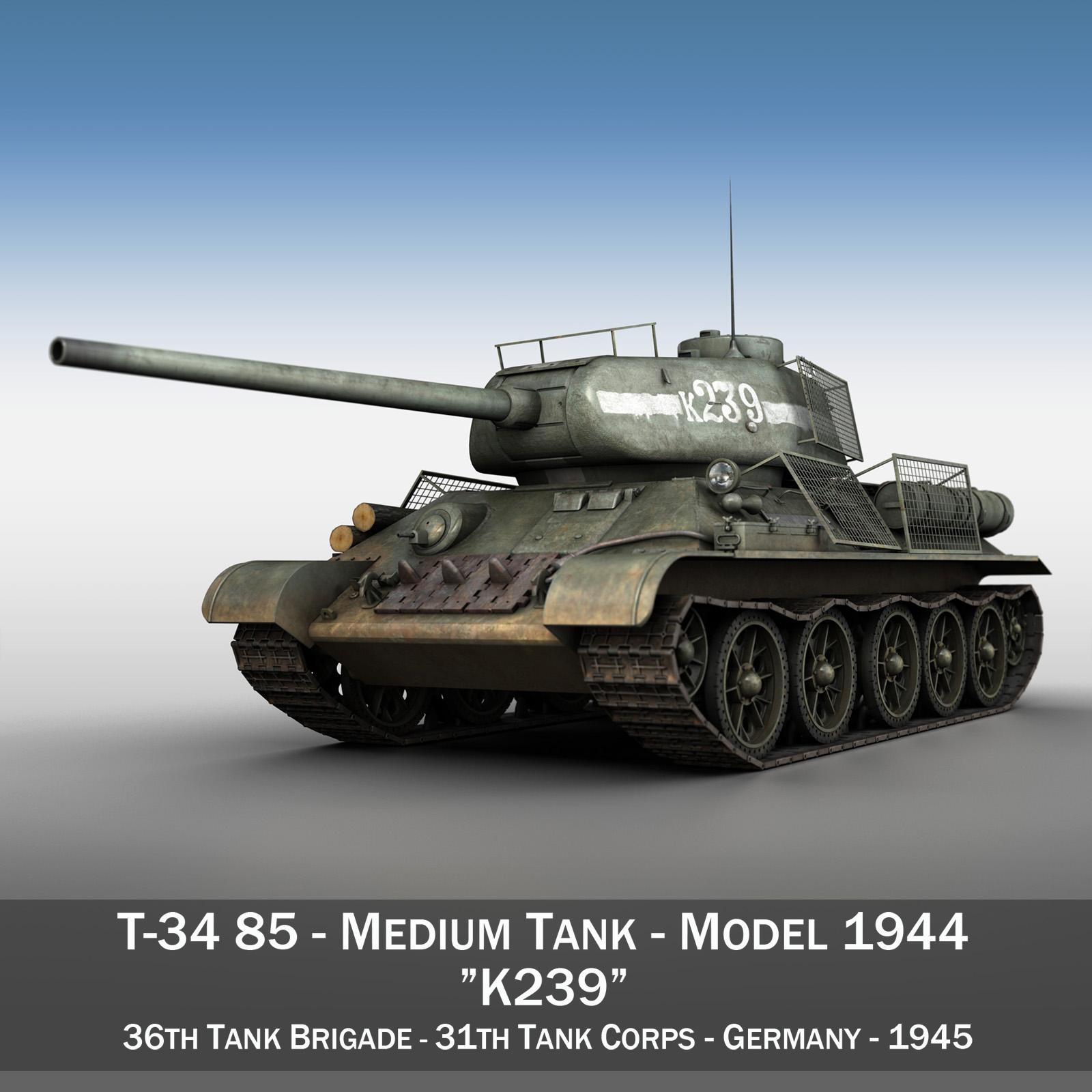 T-34 85 - Soviet medium tank - 239 3d model  266423