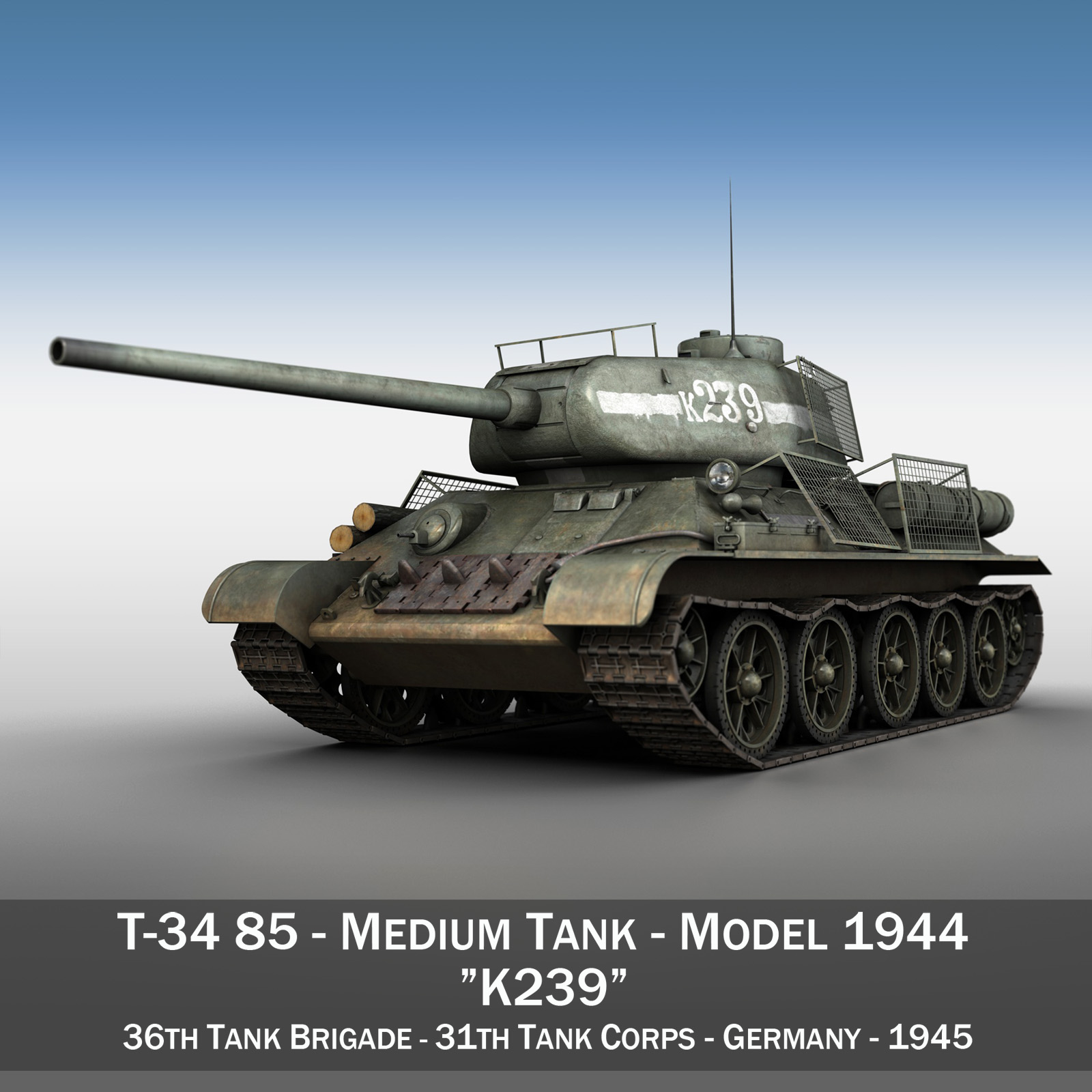 t-34 85 – soviet medium tank – 239 3d model 3ds c4d obj lwo lw lws 266423