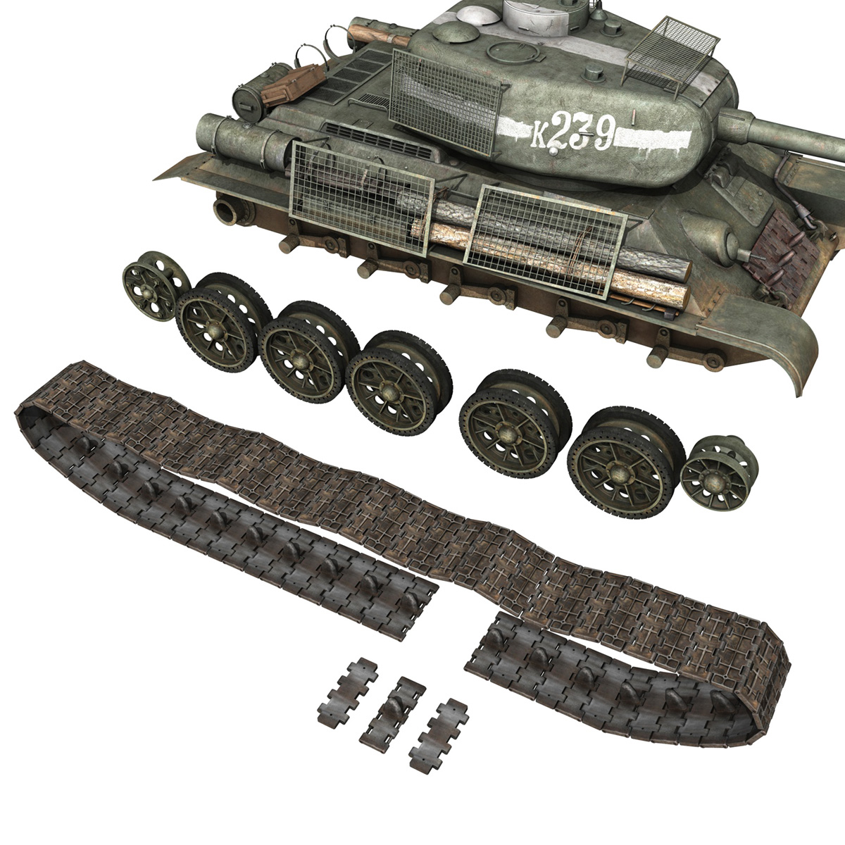 t-34 85 – soviet medium tank – 239 3d model 3ds c4d obj lwo lw lws 266434
