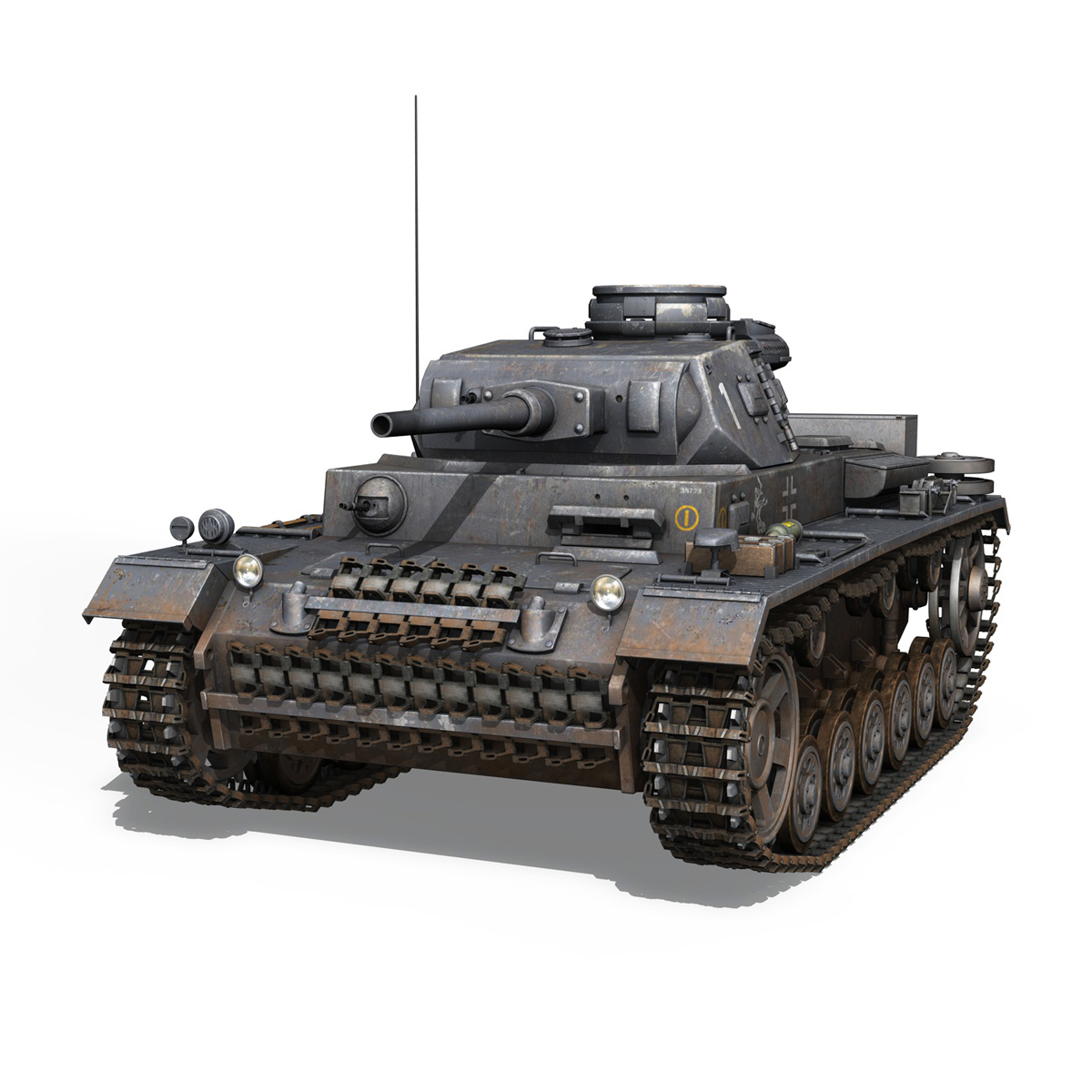 pzkpfw iii – panzer 3 – ausf.j – 1k 3d model lwo lw lws obj c4d 3ds fbx 266445