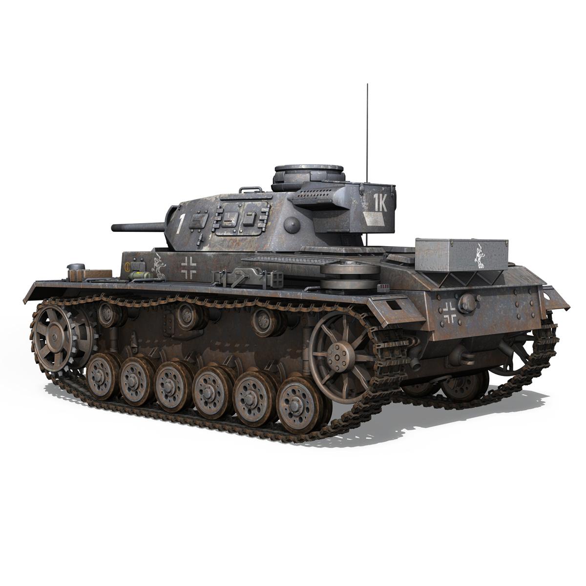 pzkpfw iii – panzer 3 – ausf.j – 1k 3d model lwo lw lws obj c4d 3ds fbx 266447