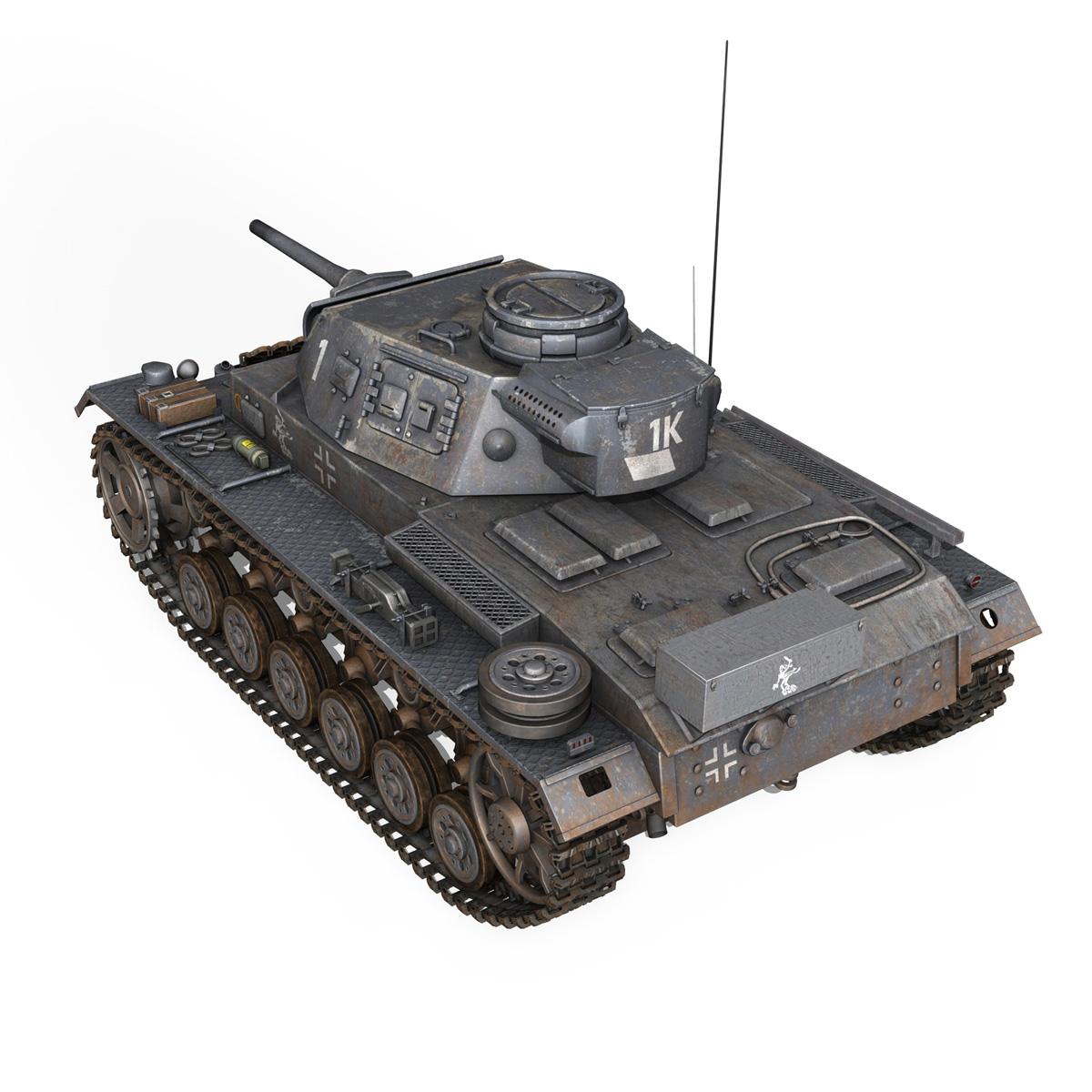 pzkpfw iii – panzer 3 – ausf.j – 1k 3d model lwo lw lws obj c4d 3ds fbx 266448