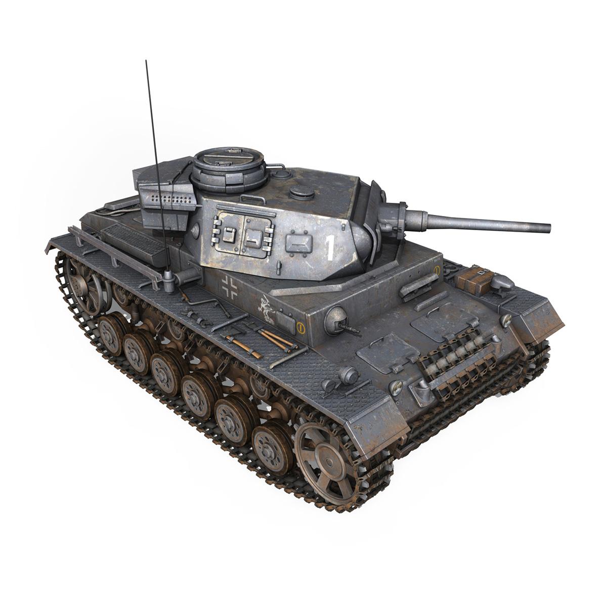 pzkpfw iii – panzer 3 – ausf.j – 1k 3d model lwo lw lws obj c4d 3ds fbx 266451