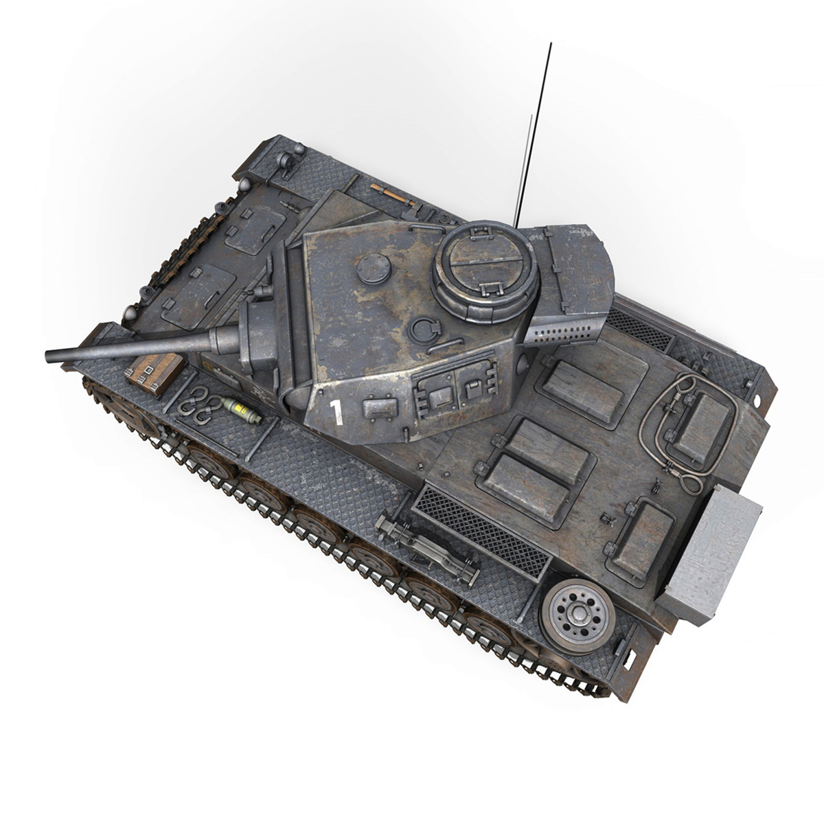 pzkpfw iii – panzer 3 – ausf.j – 1k 3d model lwo lw lws obj c4d 3ds fbx 266452