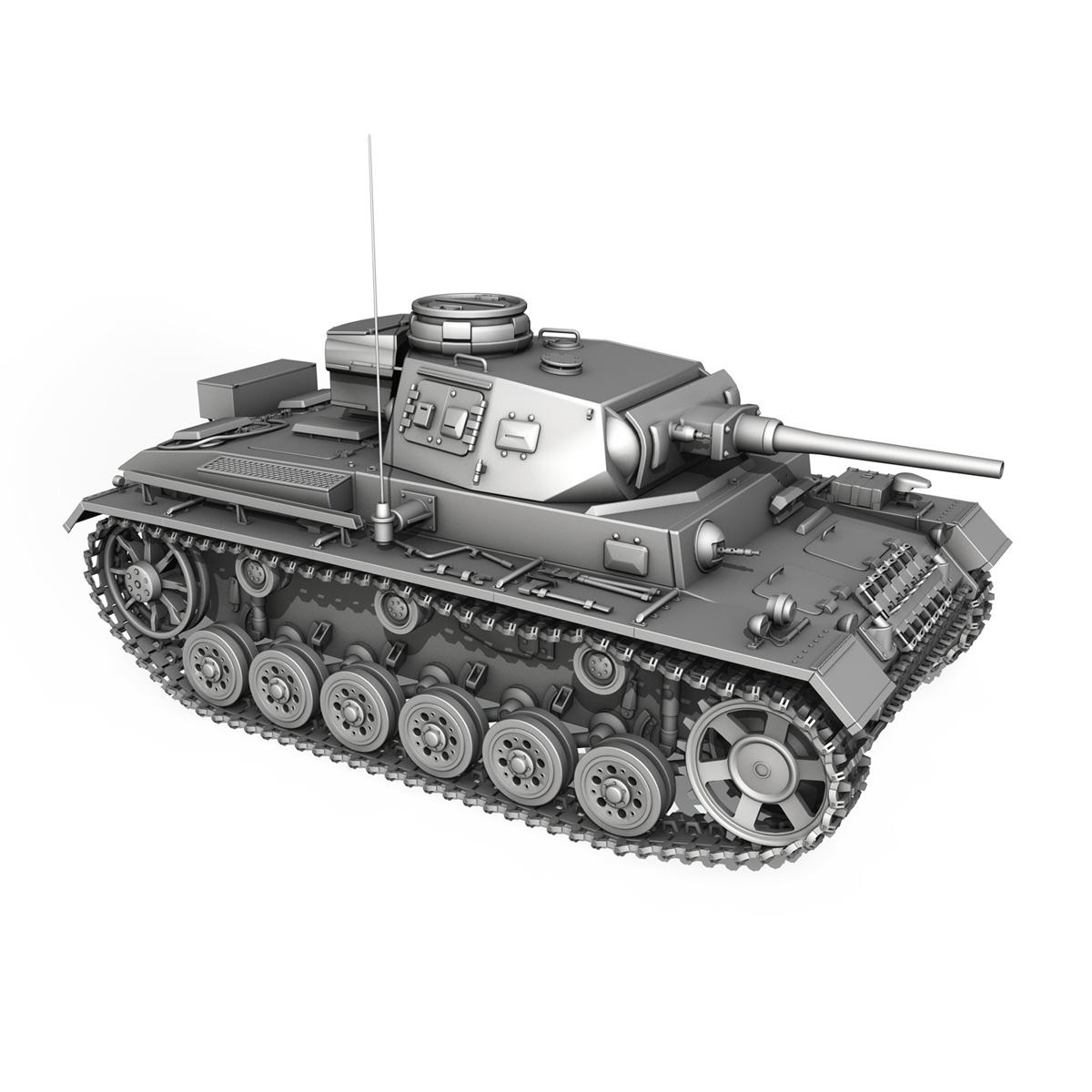 pzkpfw iii – panzer 3 – ausf.j – 1k 3d model lwo lw lws obj c4d 3ds fbx 266454