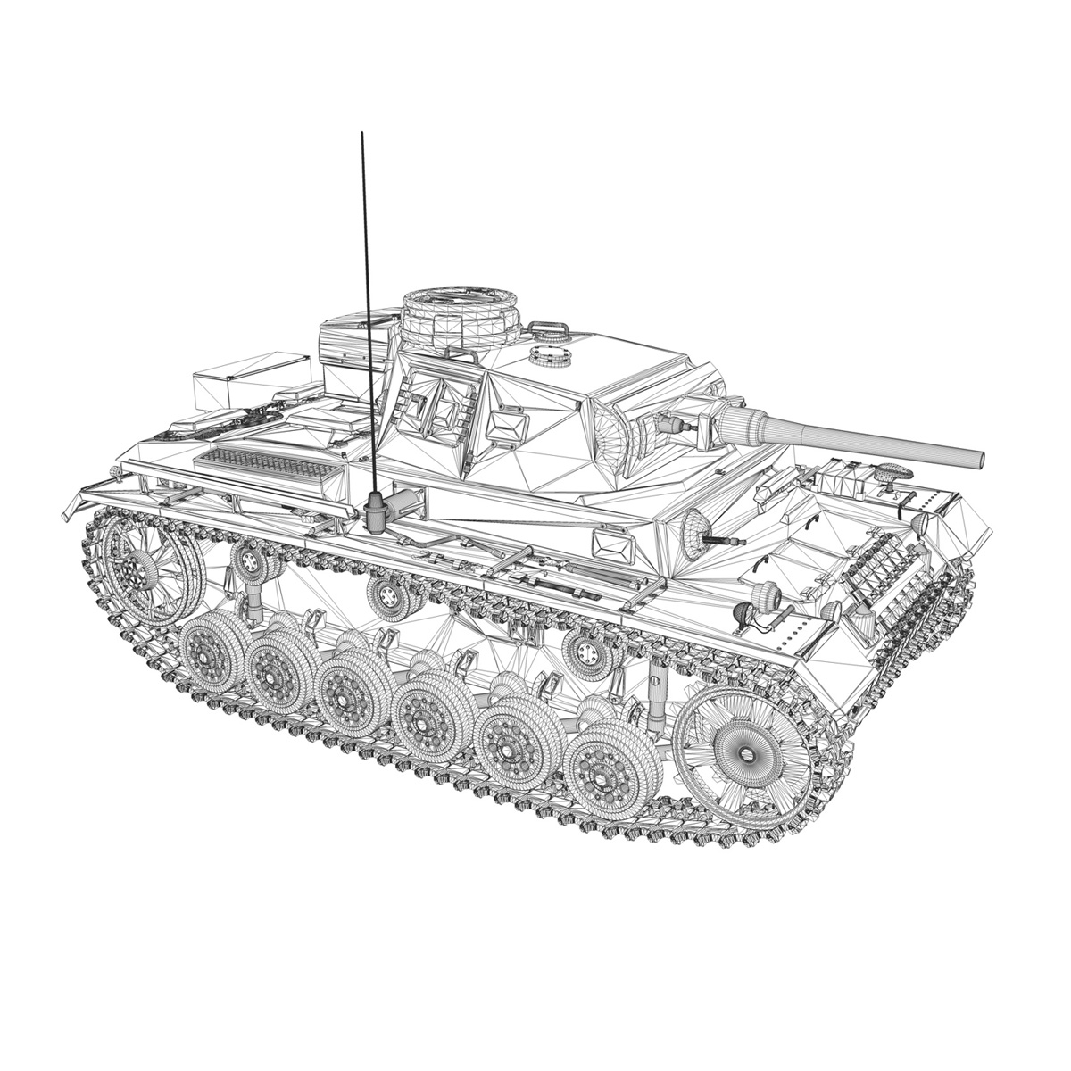 pzkpfw iii – panzer 3 – ausf.j – 1k 3d model lwo lw lws obj c4d 3ds fbx 266455