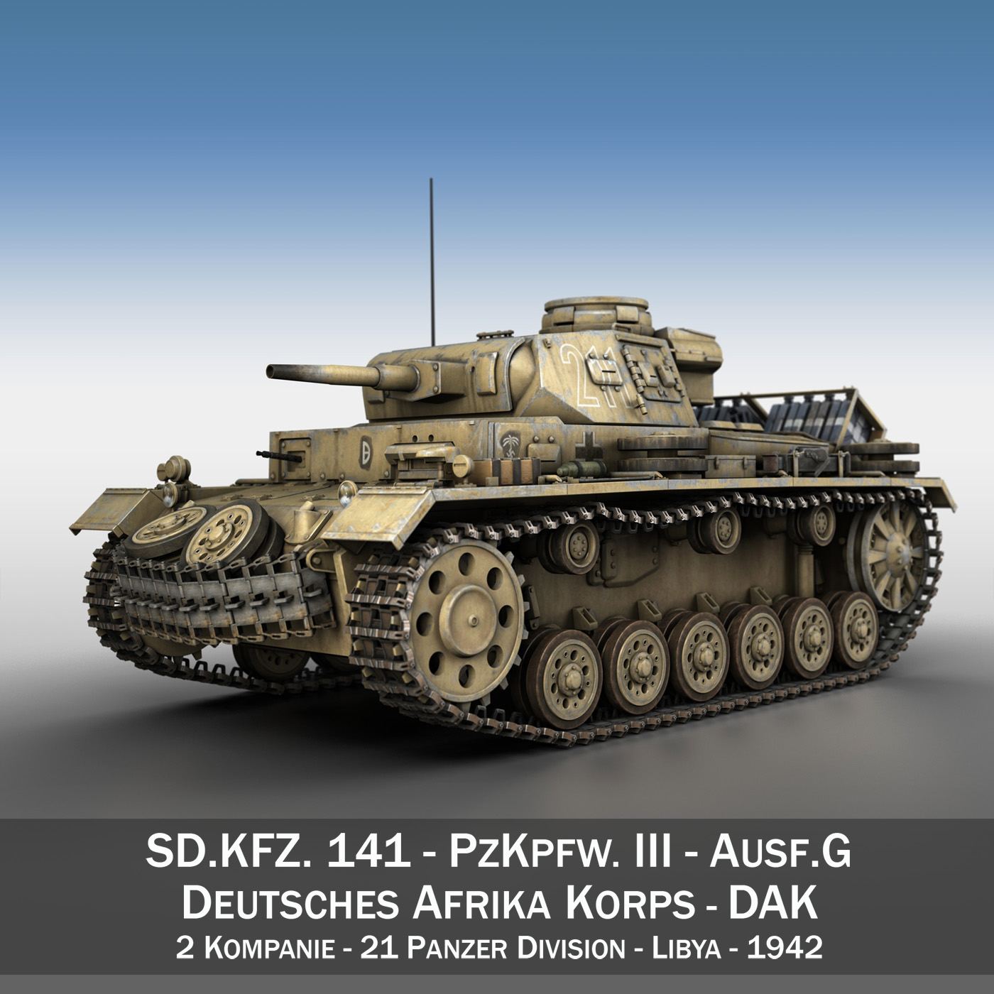 PzKpfw III - Panzer 3 - Ausf.G - DAK - 211 3d model  266462
