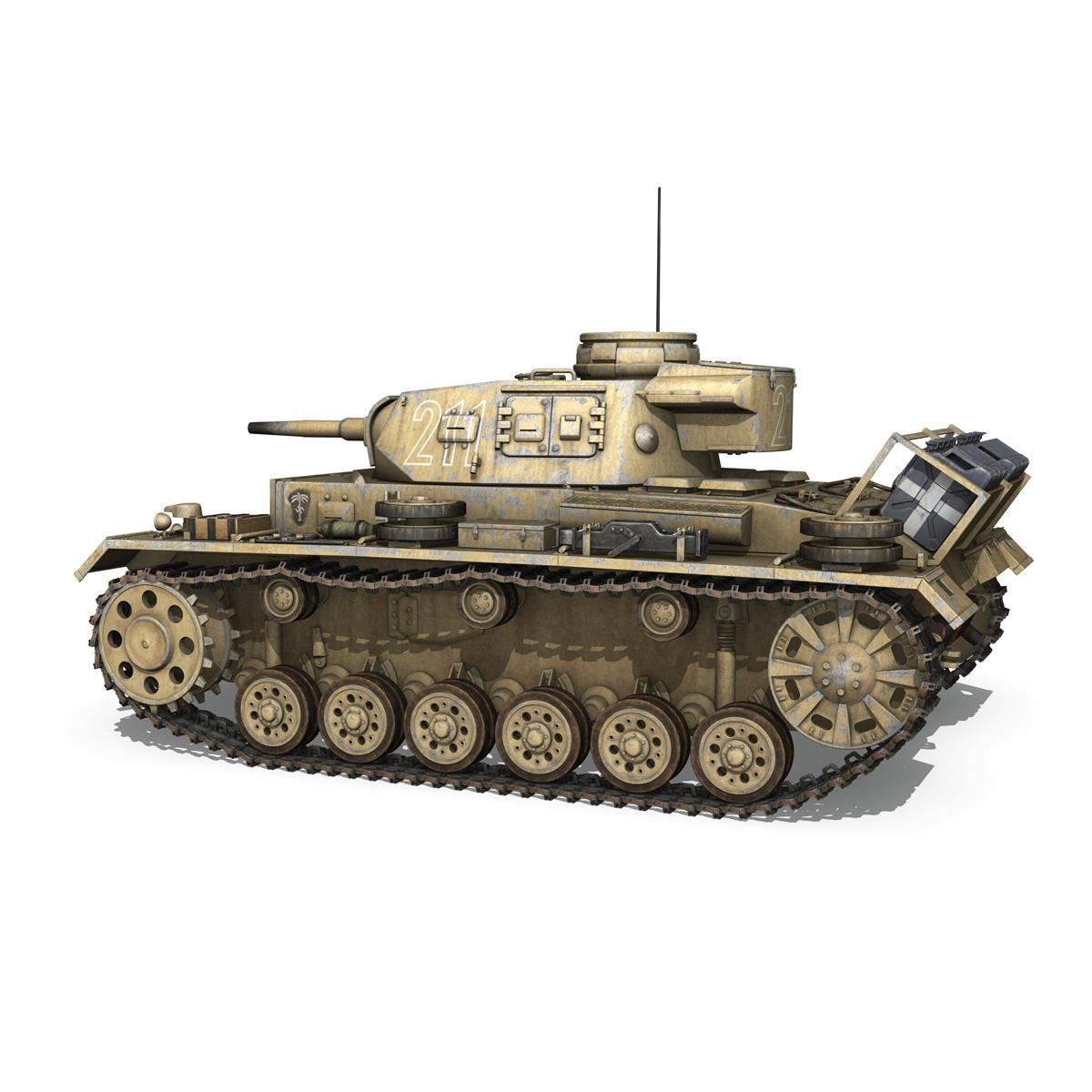 pzkpfw iii – panzer 3 – ausf.g – dak – 211 3d model 3ds c4d fbx lwo lw lws obj 266465