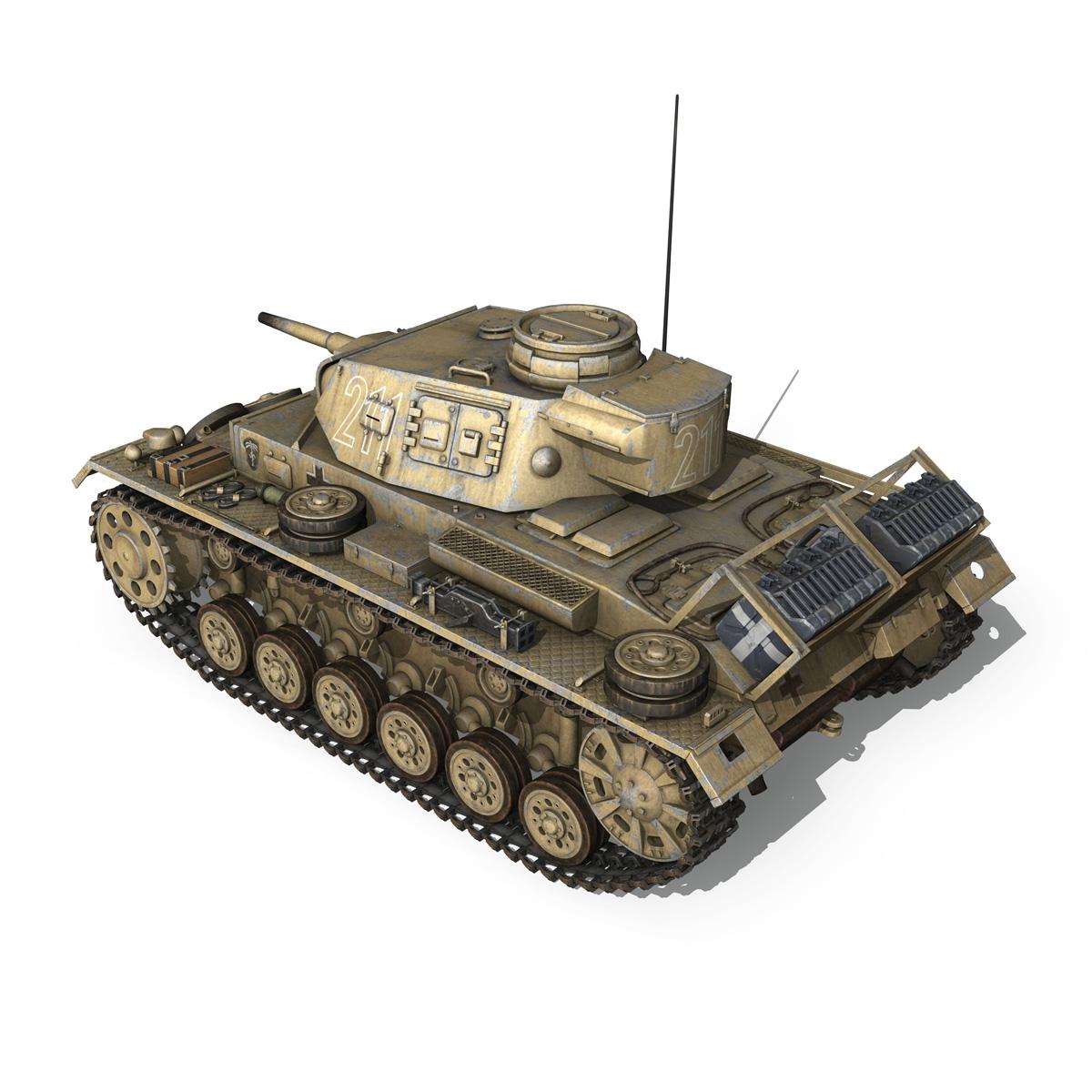 pzkpfw iii – panzer 3 – ausf.g – dak – 211 3d model 3ds c4d fbx lwo lw lws obj 266466