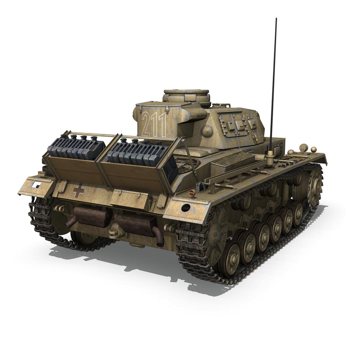 pzkpfw iii – panzer 3 – ausf.g – dak – 211 3d model 3ds c4d fbx lwo lw lws obj 266467