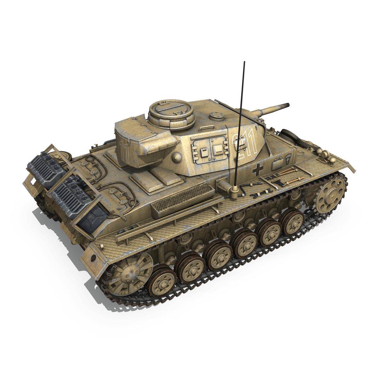 pzkpfw iii – panzer 3 – ausf.g – dak – 211 3d model 3ds c4d fbx lwo lw lws obj 266468