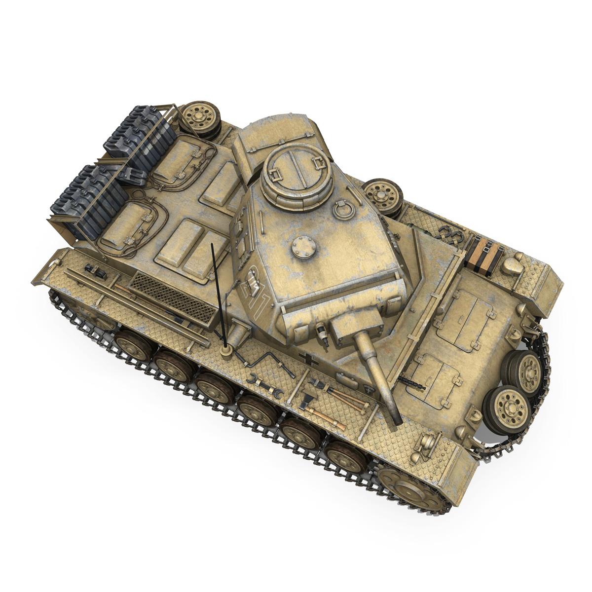 pzkpfw iii – panzer 3 – ausf.g – dak – 211 3d model 3ds c4d fbx lwo lw lws obj 266471