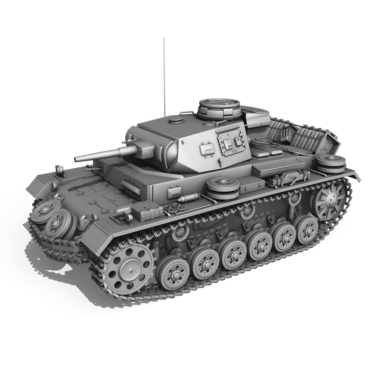 pzkpfw iii – panzer 3 – ausf.g – dak – 211 3d model 3ds c4d fbx lwo lw lws obj 266473