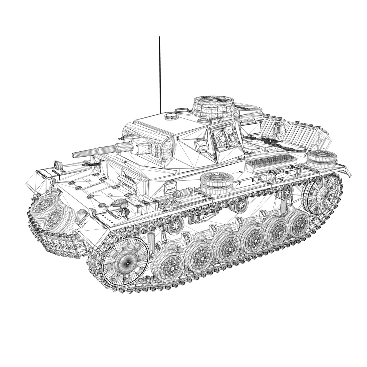 pzkpfw iii – panzer 3 – ausf.g – dak – 211 3d model 3ds c4d fbx lwo lw lws obj 266474