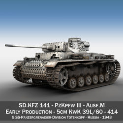 PzKpfw III - Panzer 3 - Ausf.M - 414 3d model high poly virtual reality