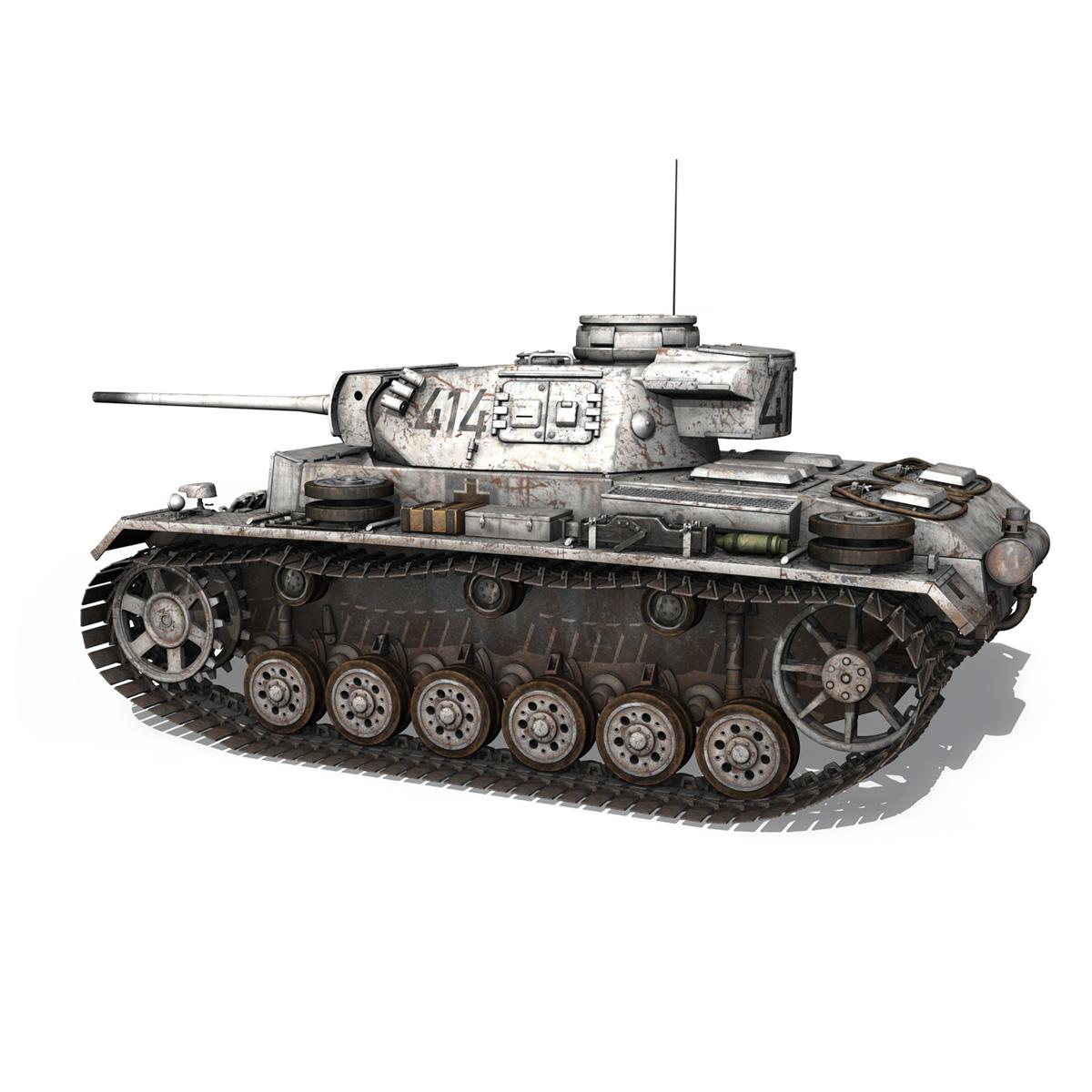 pzkpfw iii – panzer 3 – ausf.m – 414 3d model 3ds obj c4d lwo lw lws 266490