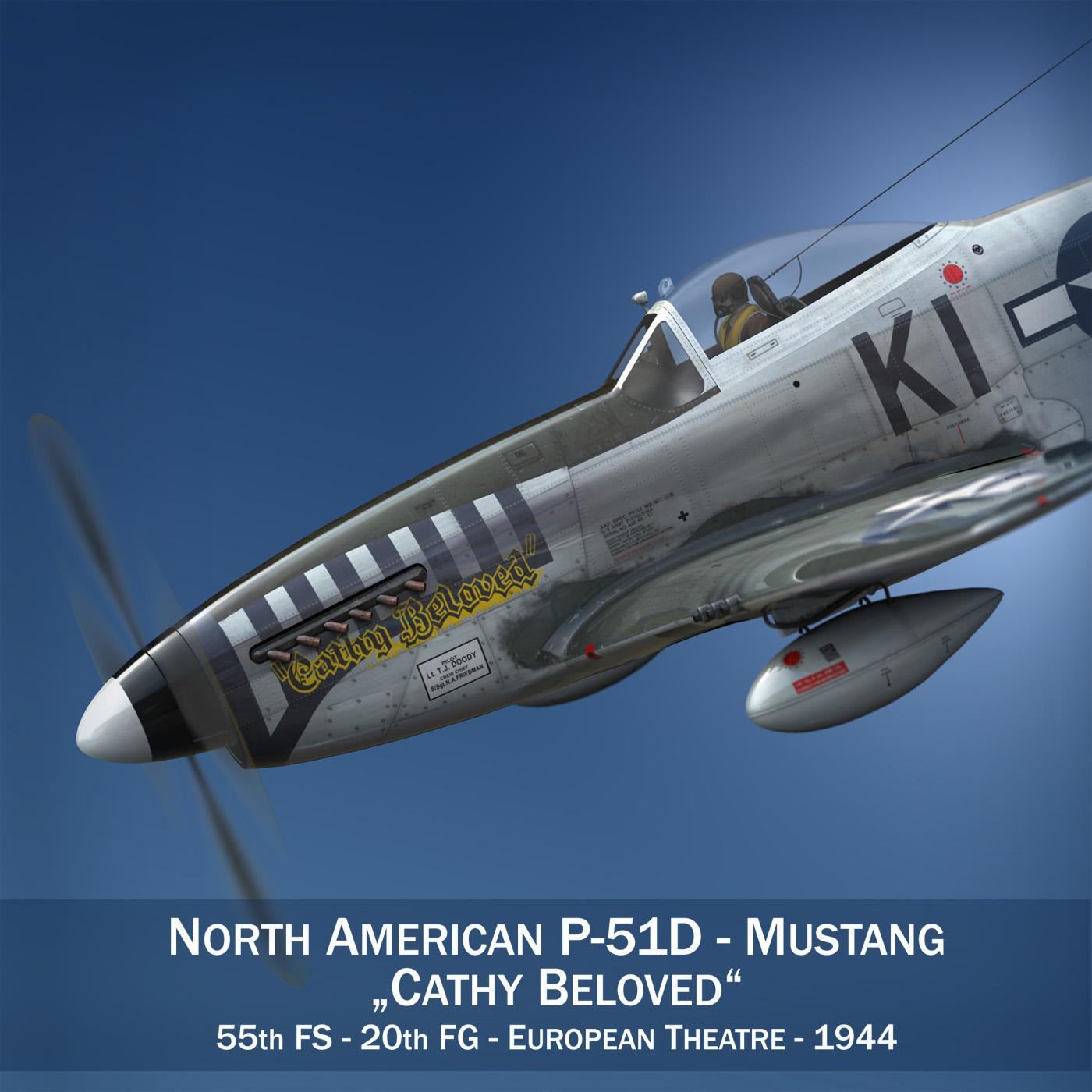 Ziemeļamerikas p-51d mustang - cathy mīļotais 3d modelis fxx lwo lws obj c4d 266529