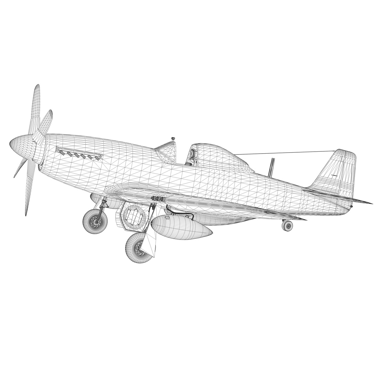 north american p-51d mustang – cathy beloved 3d model fbx lwo lw lws obj c4d 266548