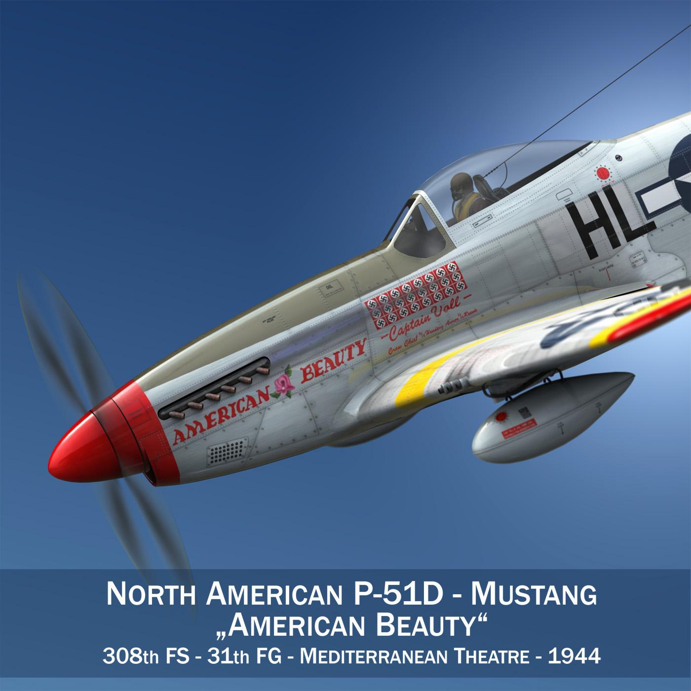 Ziemeļamerikas p-51d - amerikāņu skaistums 3d fbx lwo lws lws obj c4d 266554