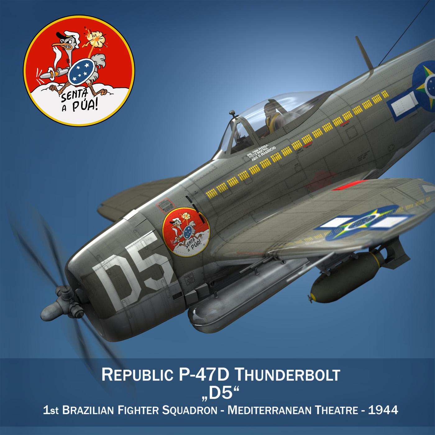 republika p-47d pērkons - Brazīlijas gaisa spēks 3d modelis lwo lw lws obj c4d fbx 266594