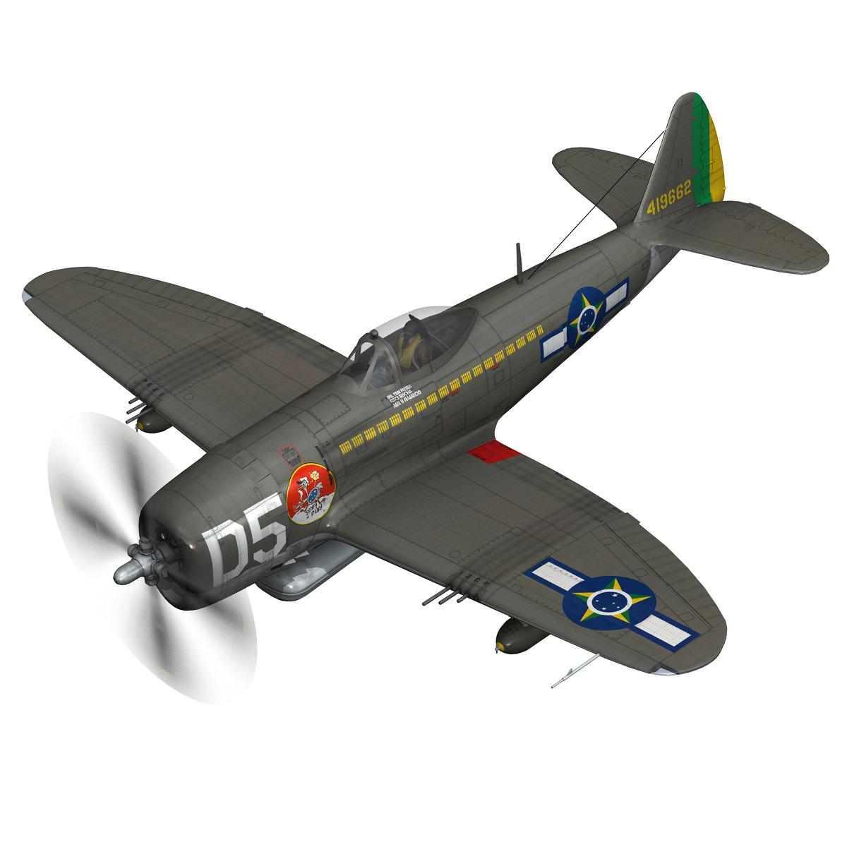 republic p-47d thunderbolt – brazilian air force 3d model lwo lw lws obj c4d fbx 266597