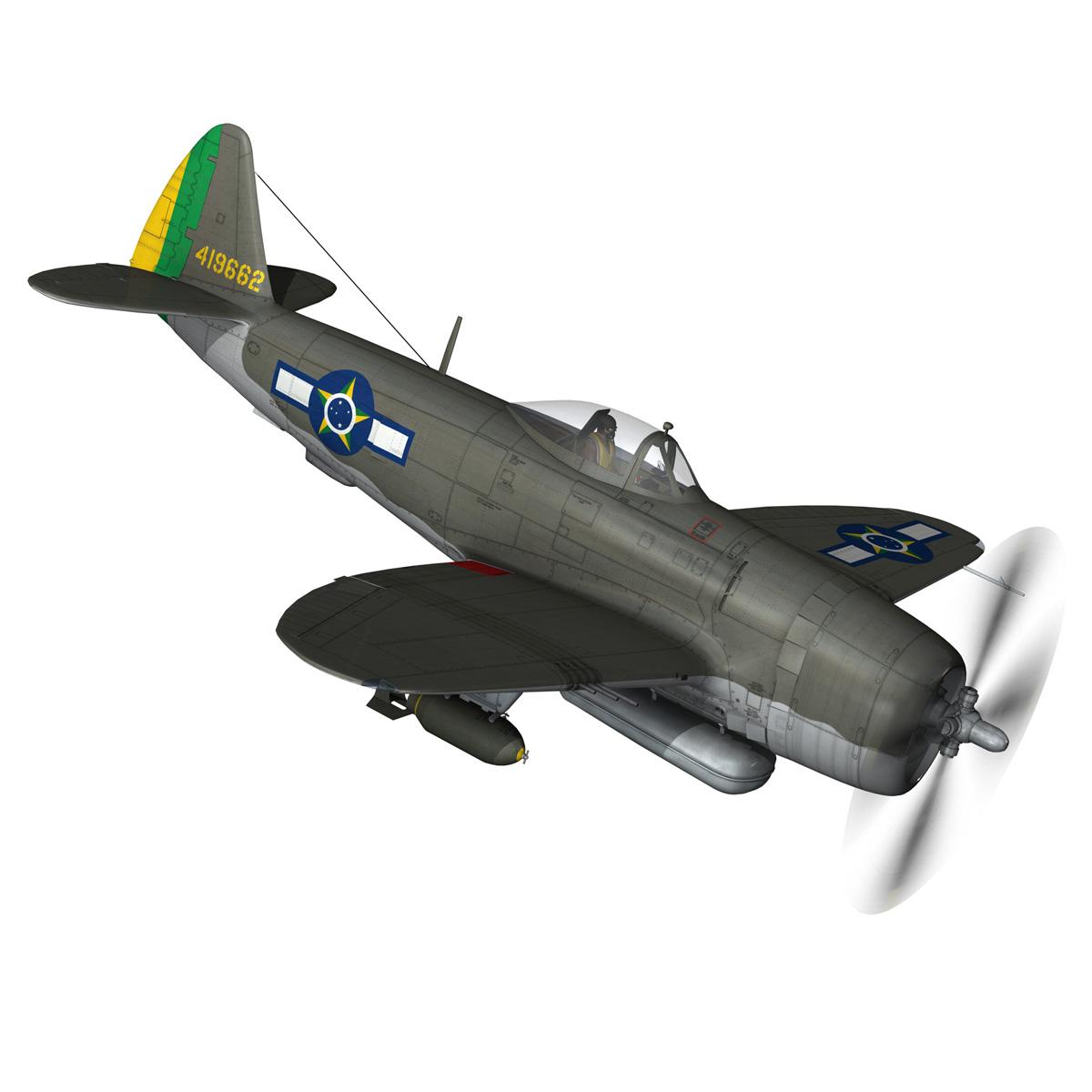 republic p-47d thunderbolt – brazilian air force 3d model lwo lw lws obj c4d fbx 266600
