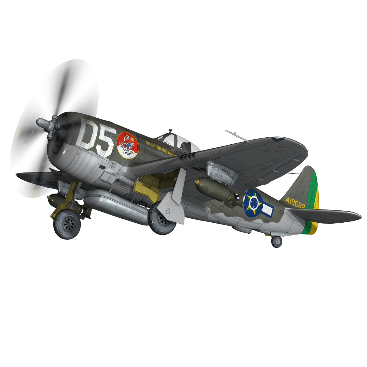republic p-47d thunderbolt – brazilian air force 3d model lwo lw lws obj c4d fbx 266601