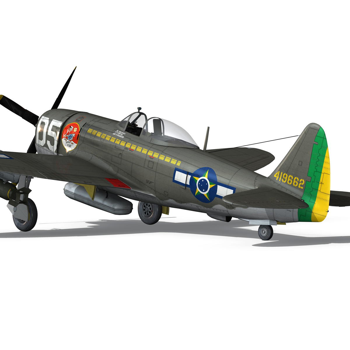 republic p-47d thunderbolt – brazilian air force 3d model lwo lw lws obj c4d fbx 266604