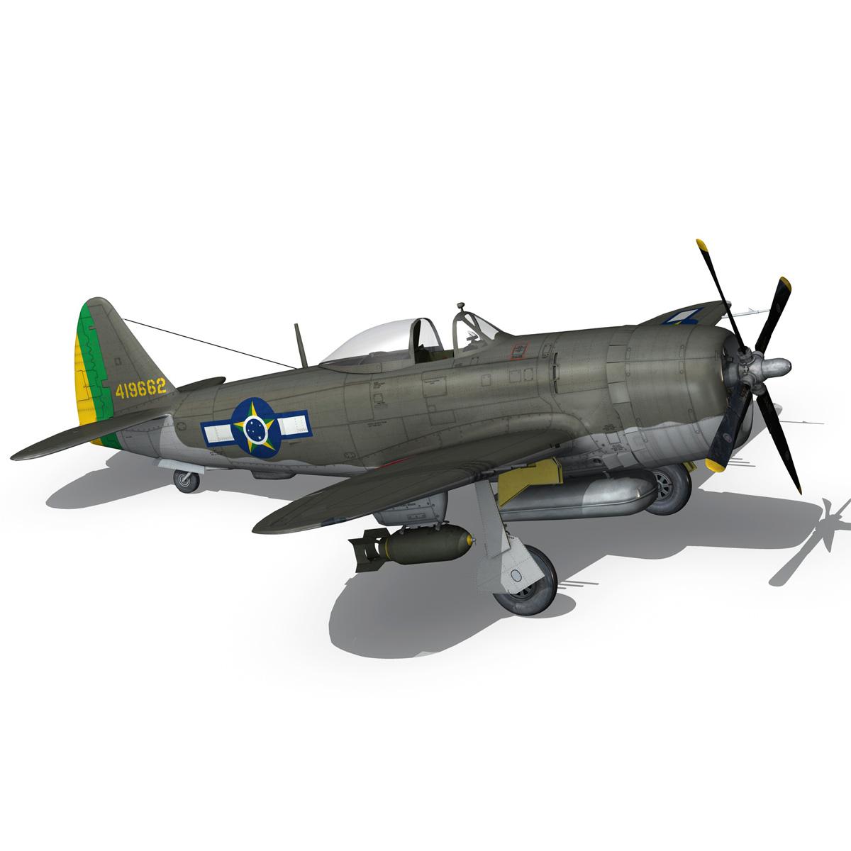 republic p-47d thunderbolt – brazilian air force 3d model lwo lw lws obj c4d fbx 266606