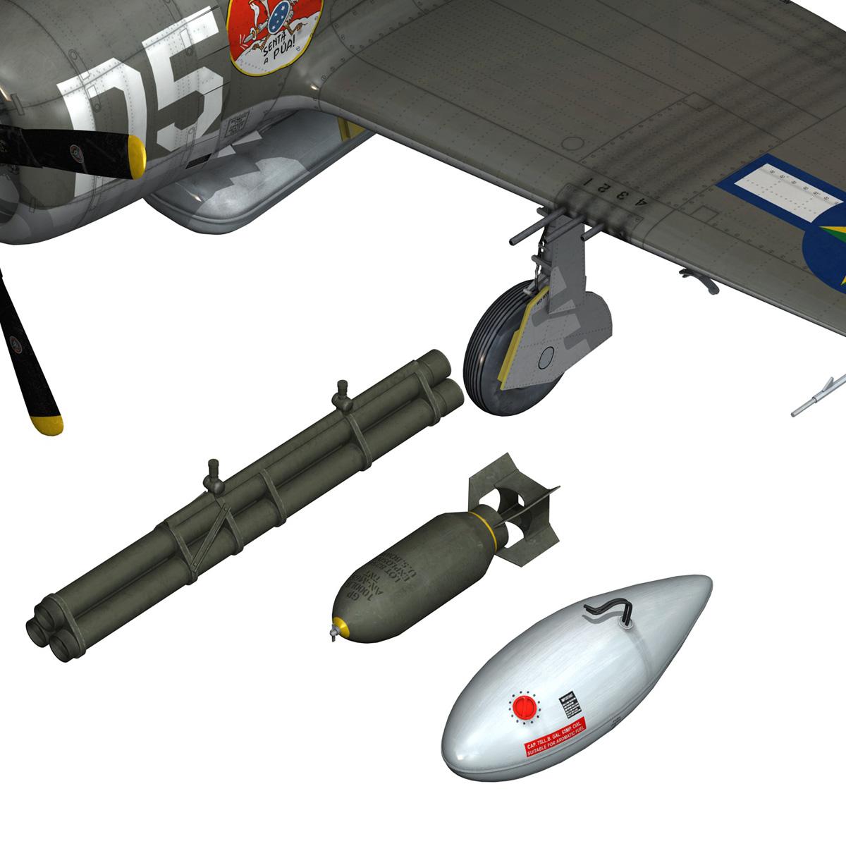 republic p-47d thunderbolt – brazilian air force 3d model lwo lw lws obj c4d fbx 266609