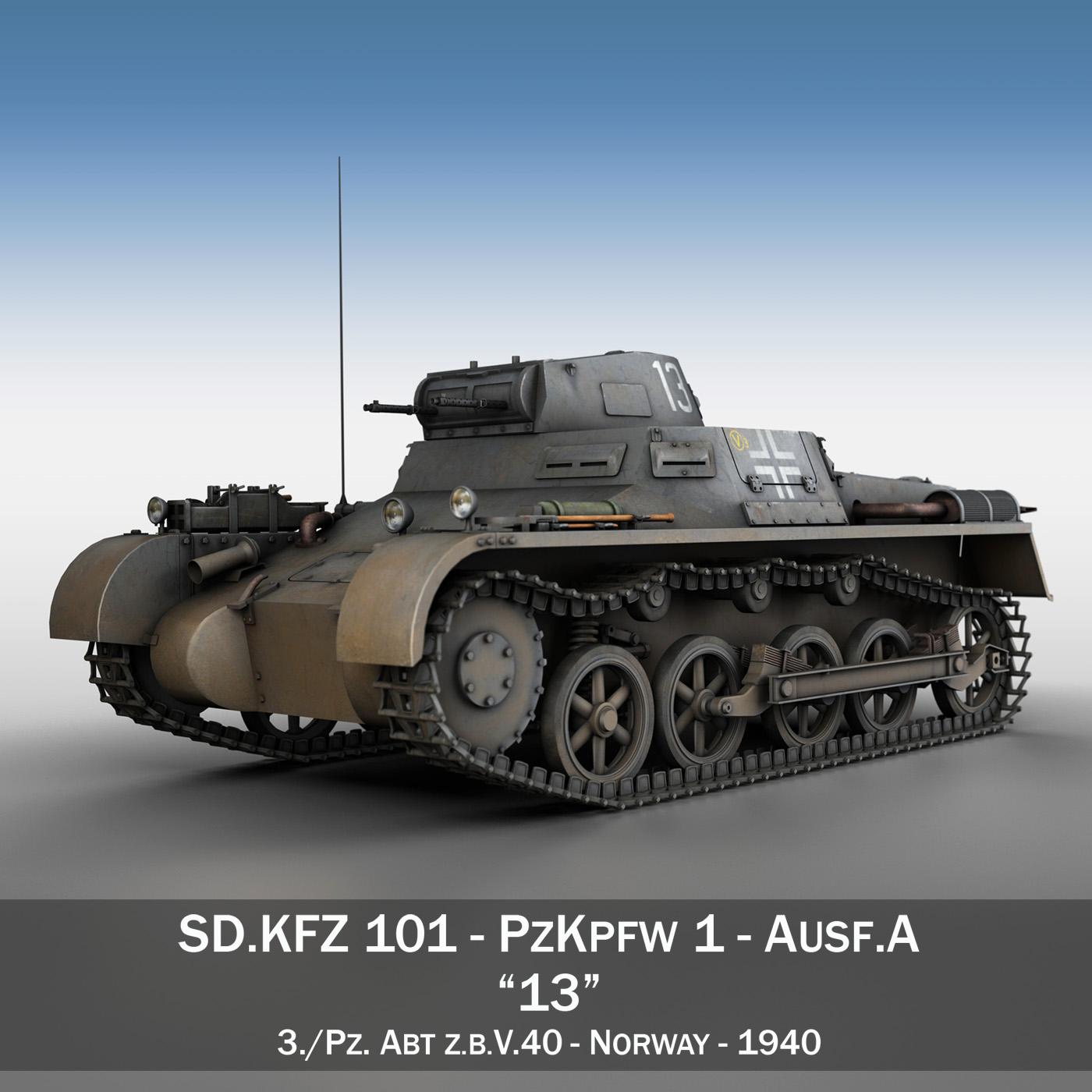 pzkpfw 1 – panzer 1 – ausf. a – 13 3d model 3ds fbx lwo lw lws obj c4d 266628