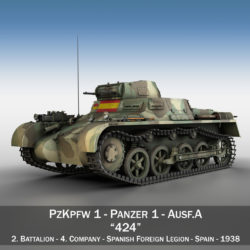 PzKpfw 1 - Panzer 1 - Ausf. A - 424 3d model high poly virtual reality