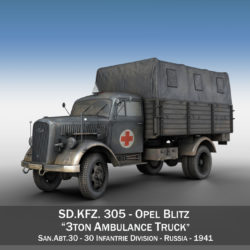 Opel Blitz - Ambulance - SanAbt30 3d model high poly virtual reality