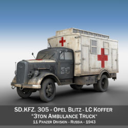 Opel Blitz - 3t Ambulance Truck - 11 PzDiv 3d model high poly virtual reality