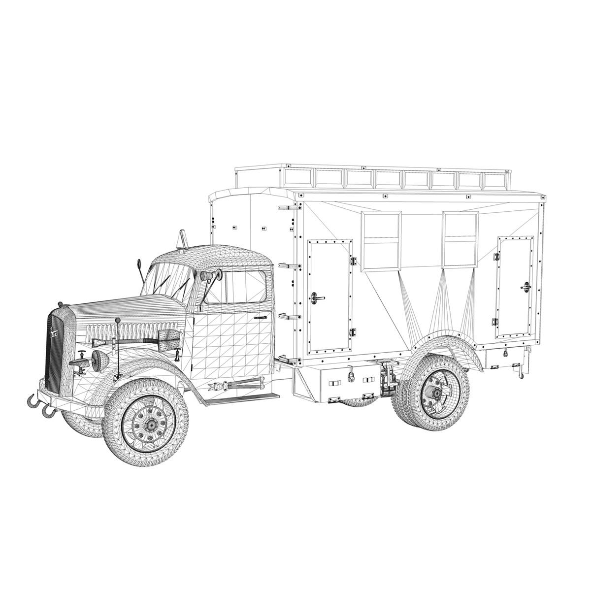 opel blitz - 3t ātrās palīdzības automašīna - 11 pzdiv 3d modelis 3ds fwx lws lws obj c4d 266710