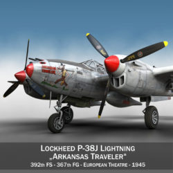 Lockheed P-38 Lightning - Arkansas Traveler 3d model 0