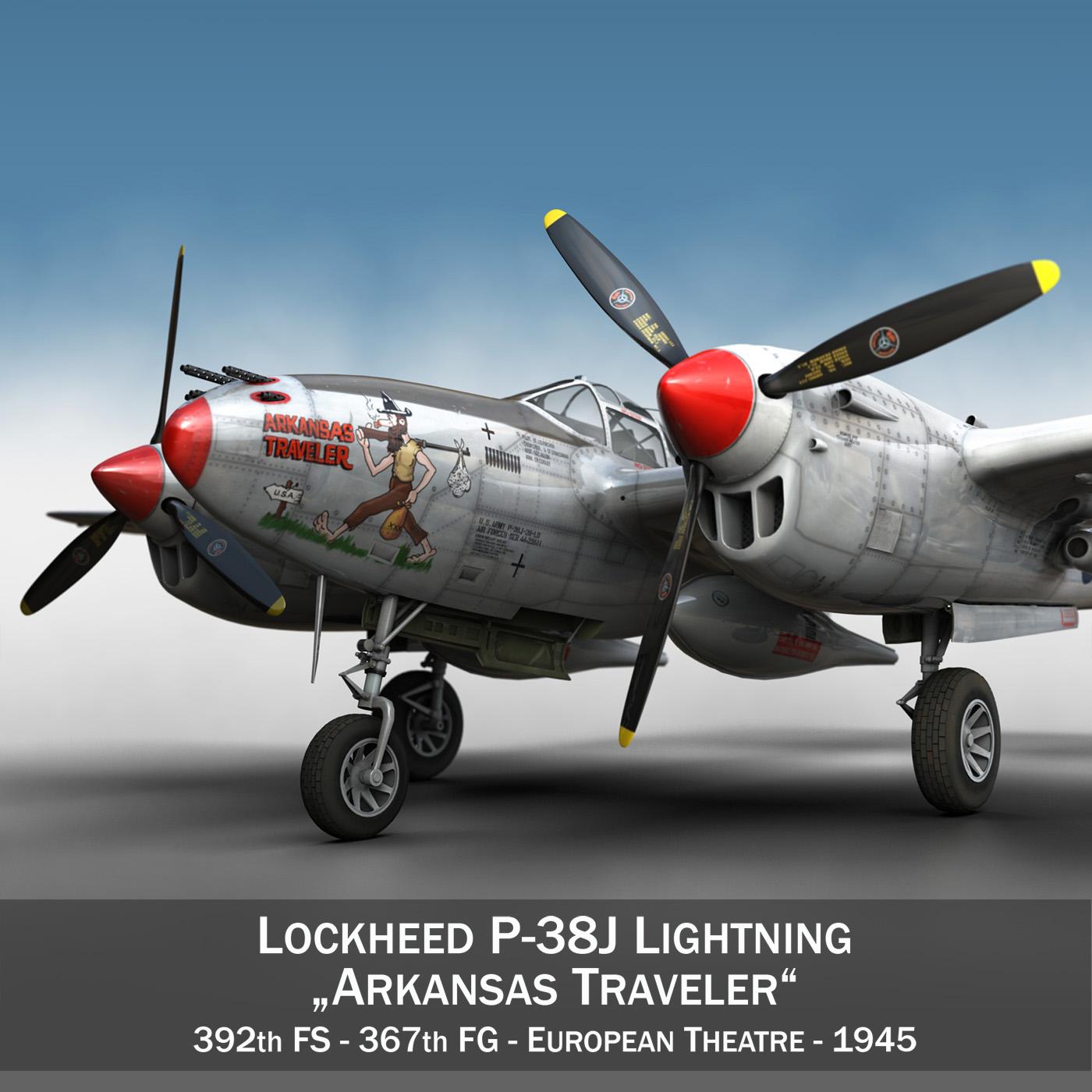 lockheed p-38 lightning – arkansas traveler 3d model fbx lwo lw lws obj c4d 266741
