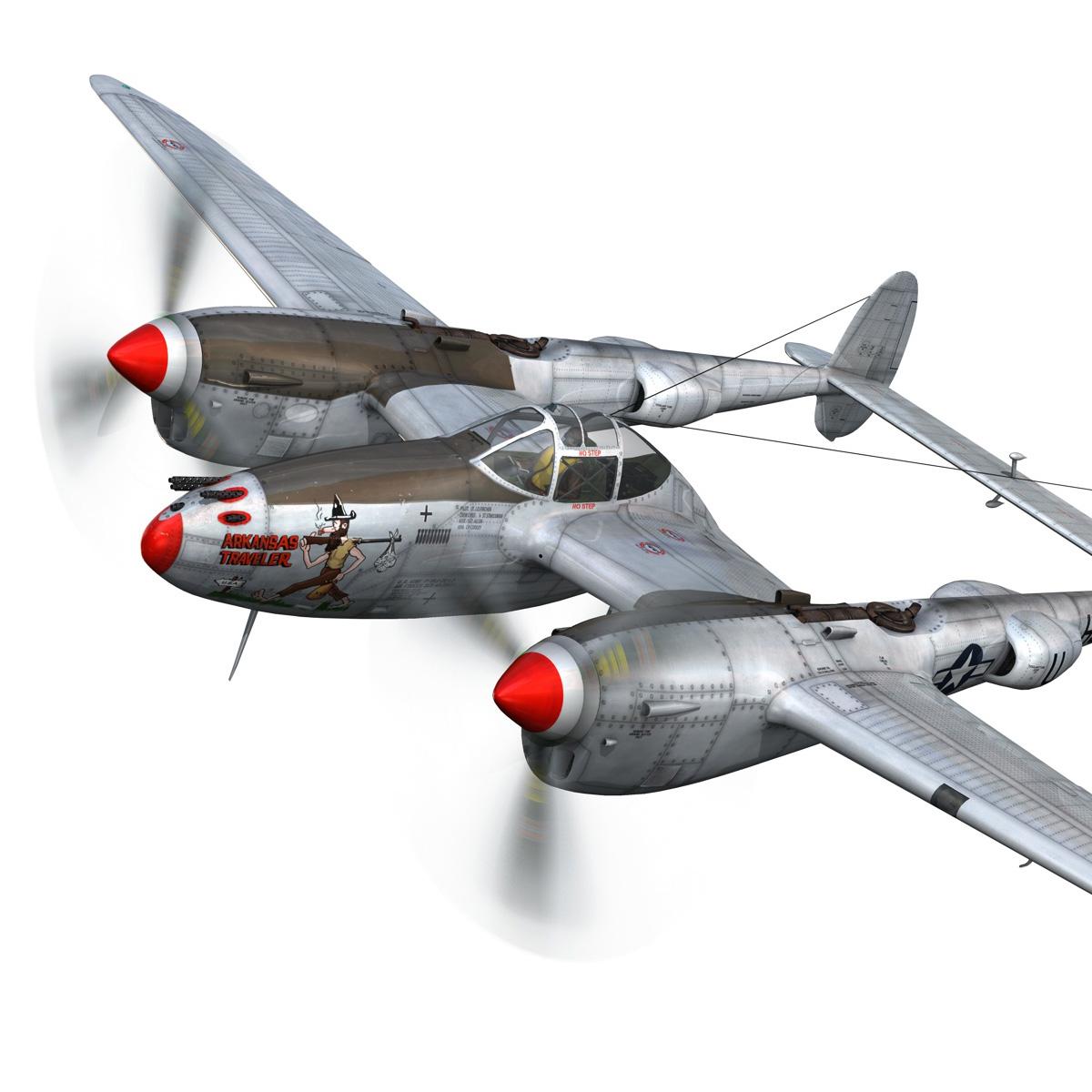 lockheed p-38 lightning – arkansas traveler 3d model fbx lwo lw lws obj c4d 266742