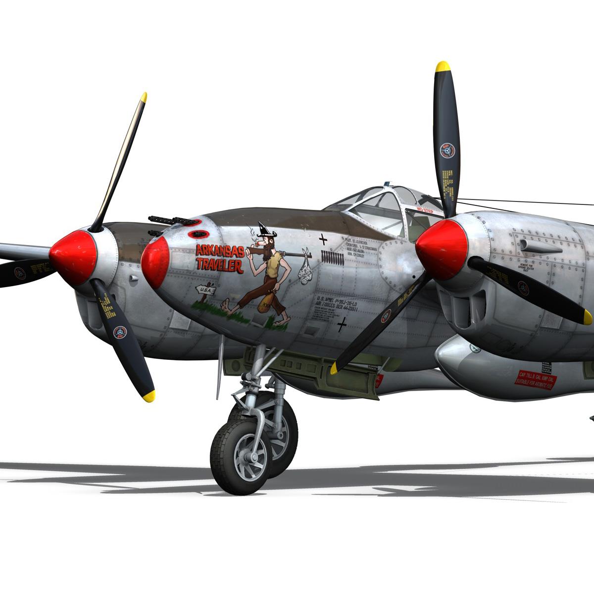 lockheed p-38 lightning – arkansas traveler 3d model fbx lwo lw lws obj c4d 266750