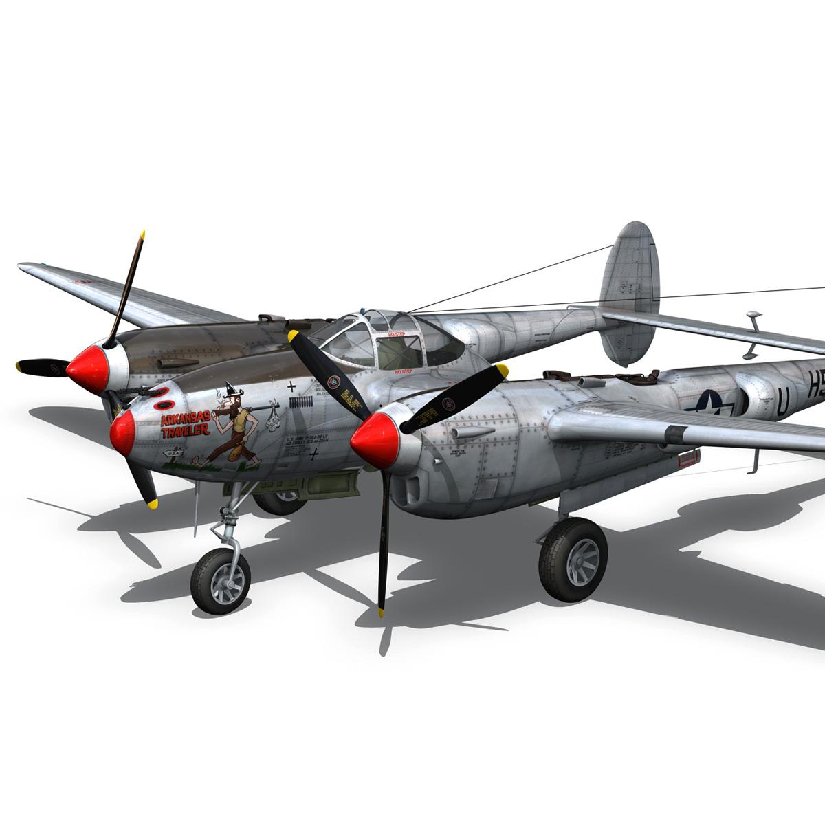 lockheed p-38 lightning – arkansas traveler 3d model fbx lwo lw lws obj c4d 266752