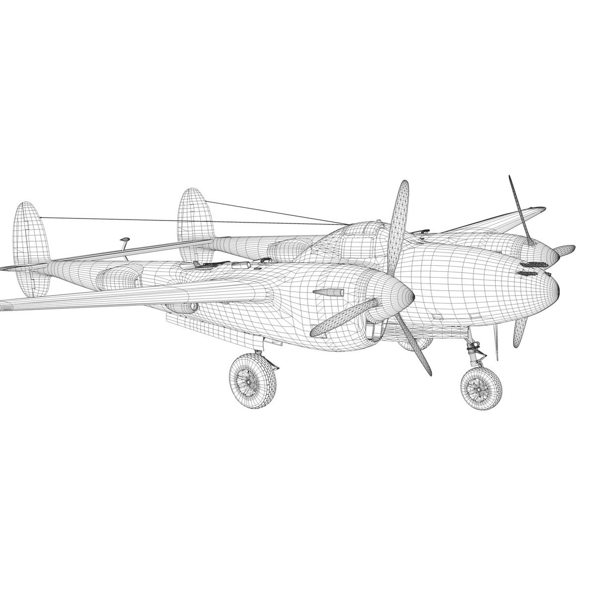 lockheed p-38 lightning – arkansas traveler 3d model fbx lwo lw lws obj c4d 266761