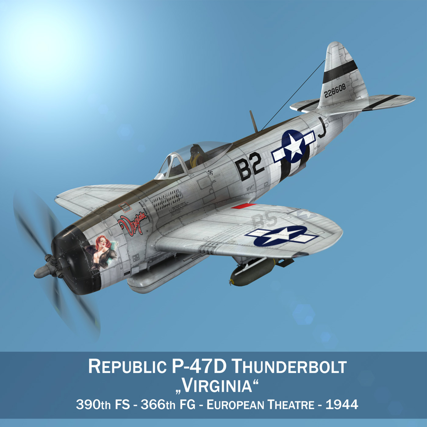 republic p-47d thunderbolt – virginia 3d model c4d fbx 3ds lwo lw lws obj 266768