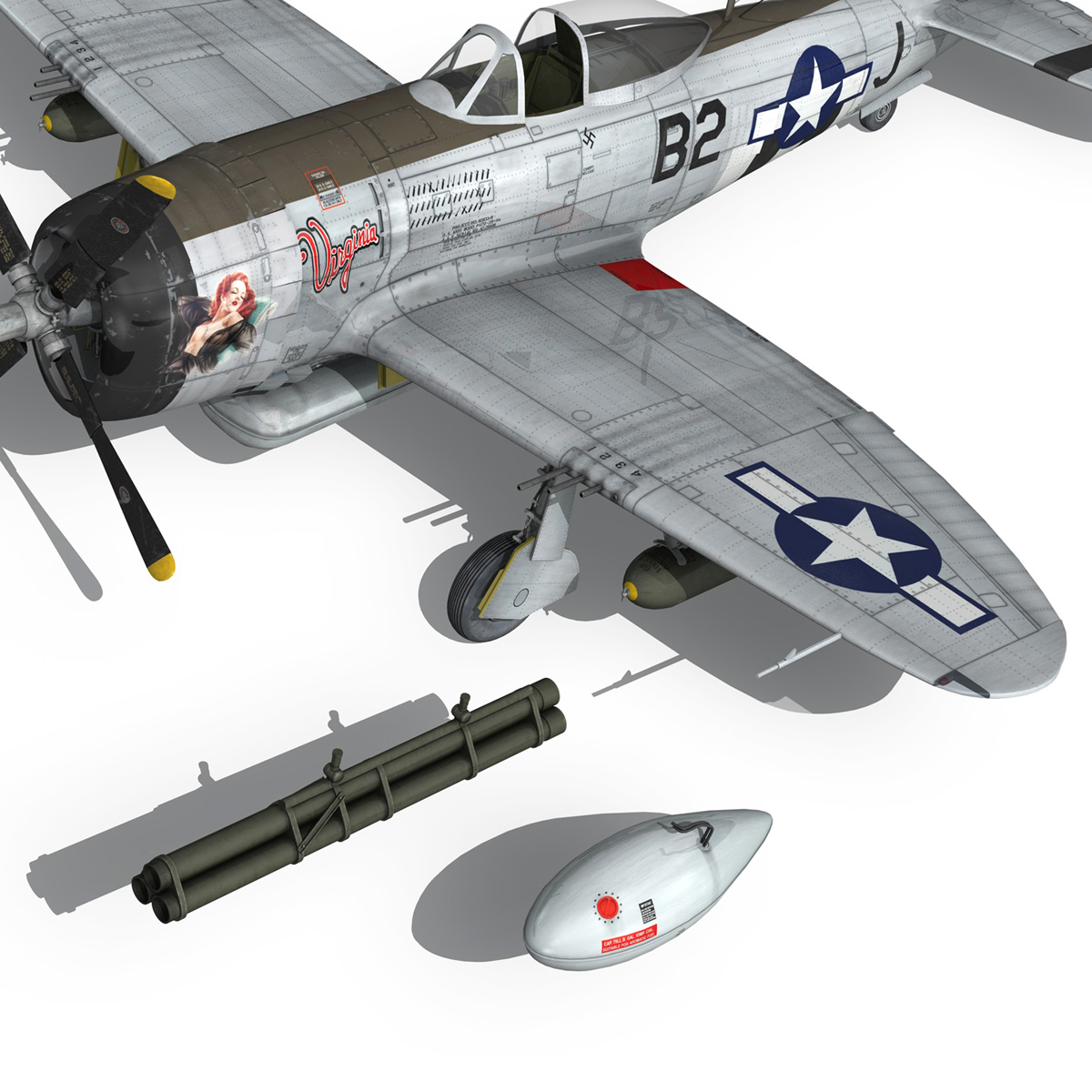 Republic P-47D Thunderbolt - Virginia 3d model  266785