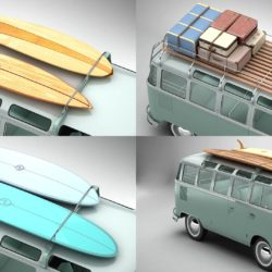 Volkswagen T1 Samba 1963 Accessories 3d model 0
