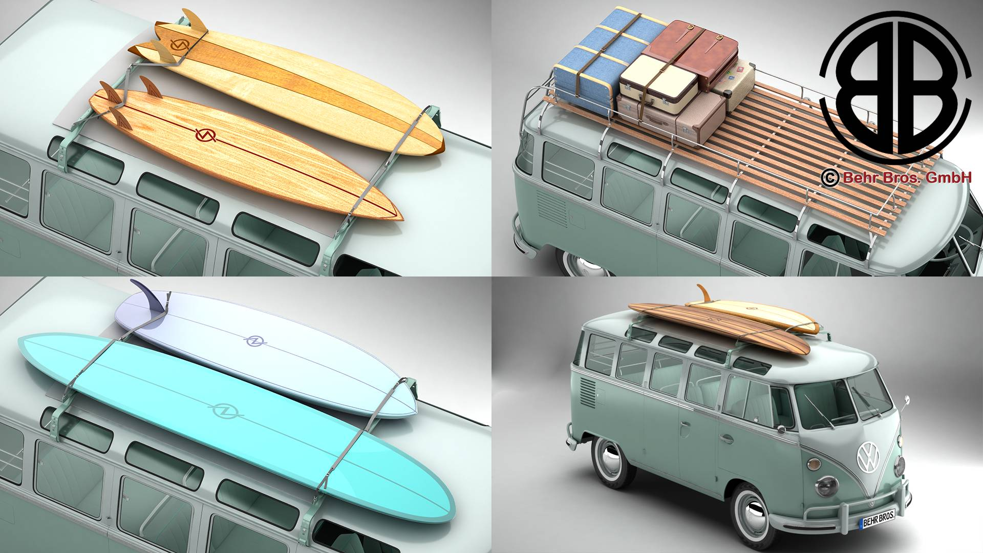volkswagen t1 samba 1963 accessories 3d model 3ds max fbx c4d lwo ma mb obj 266807