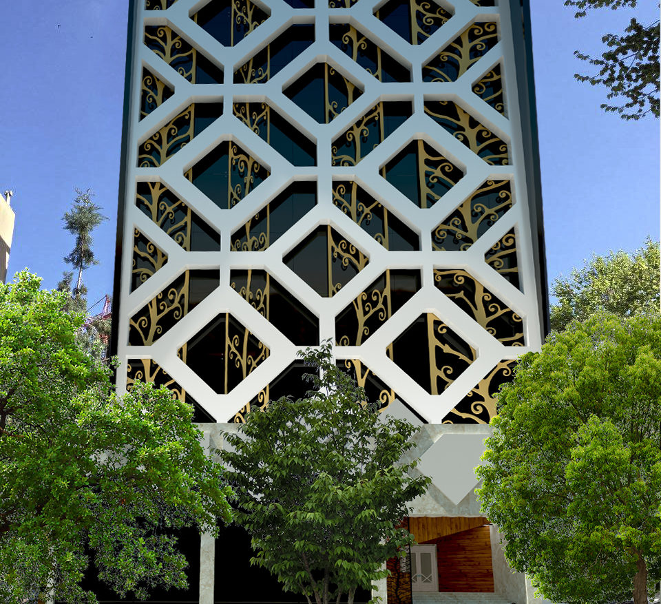 Modern Building Exterior with a Pattern 3d model 0
