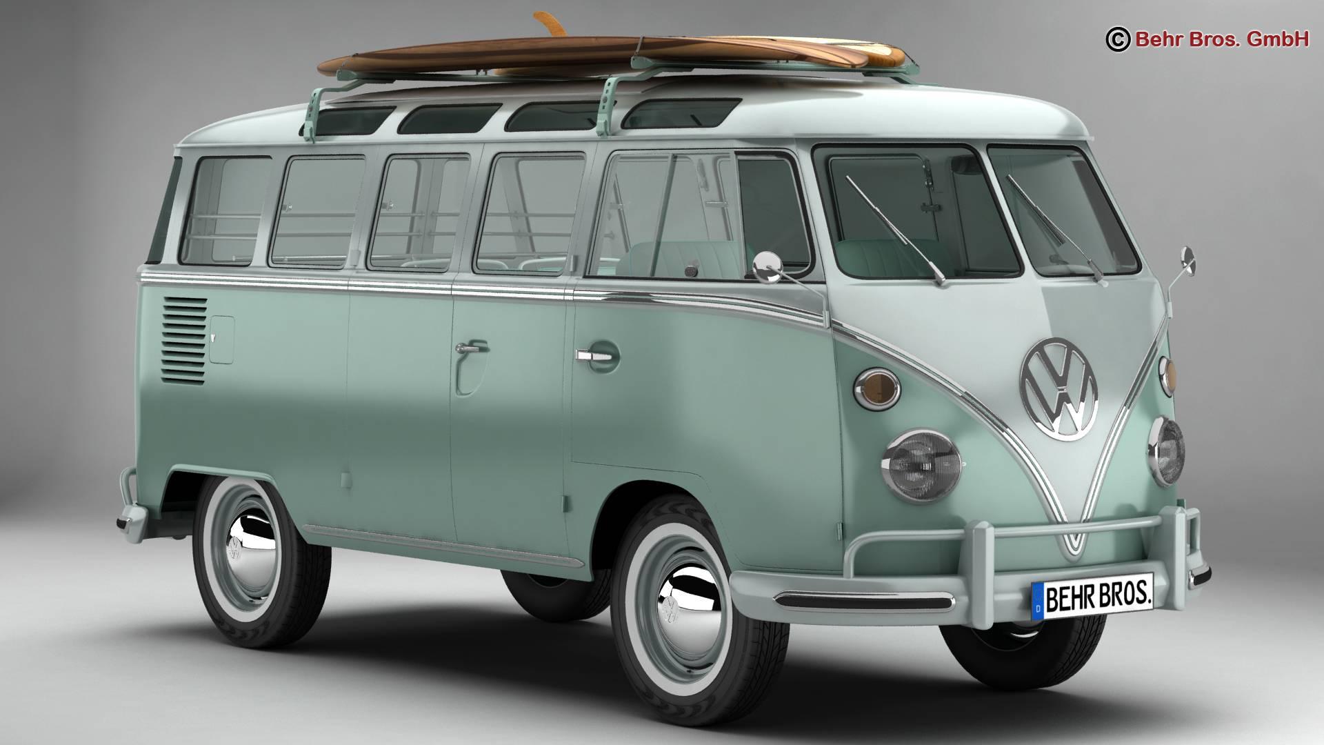 volkswagen t1 samba 1963 accessories 3d model buy. Black Bedroom Furniture Sets. Home Design Ideas
