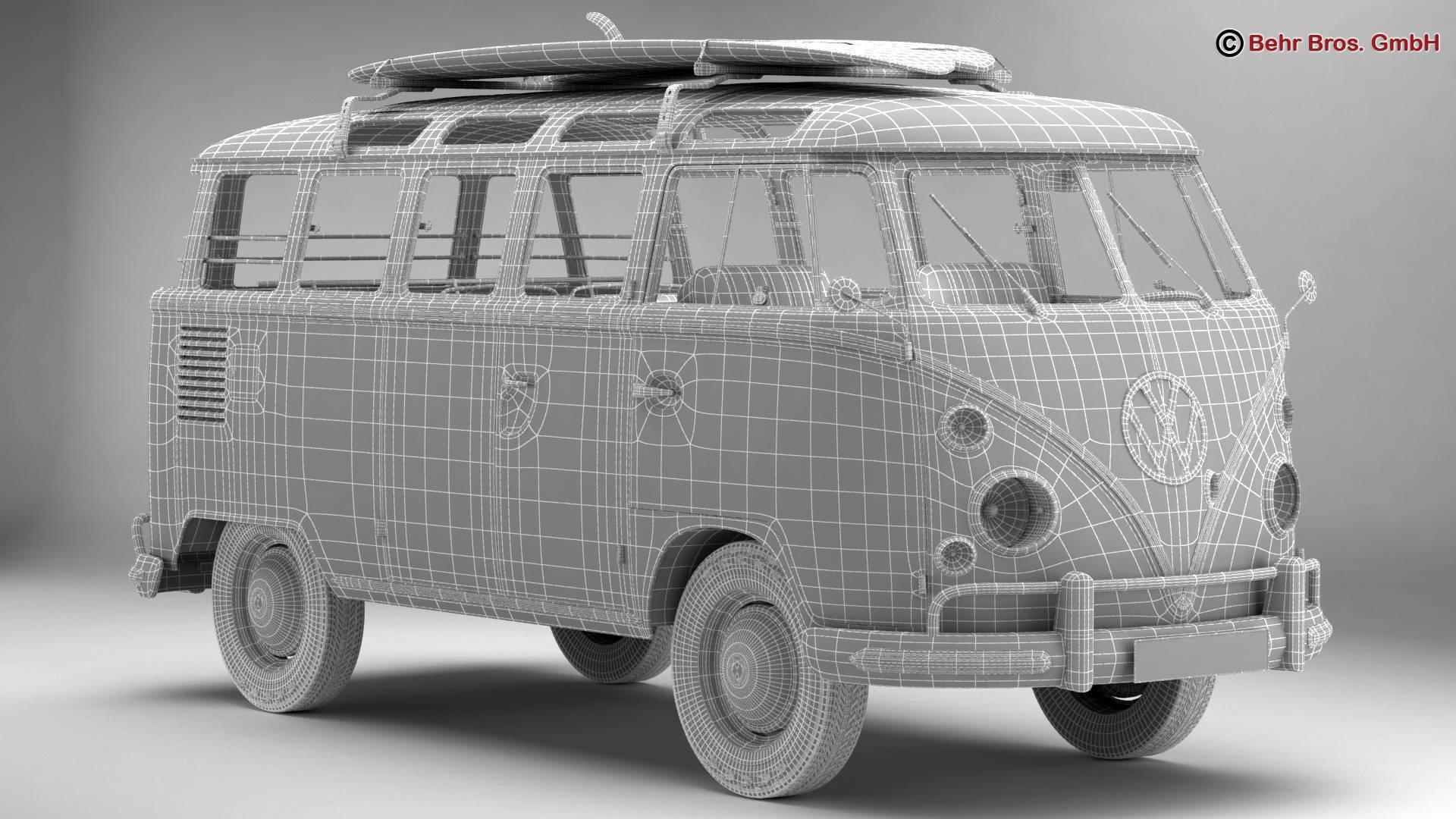 Volkswagen T1 Samba 1963 Accessories 3d model 3ds max fbx c4d lwo ma mb obj 266857