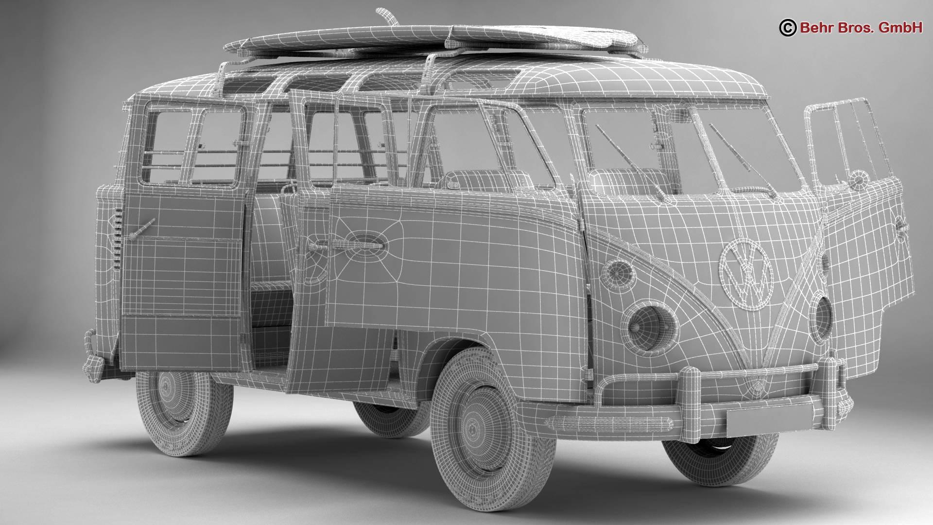 Volkswagen T1 Samba 1963 Accessories 3d model 3ds max fbx c4d lwo ma mb obj 266858