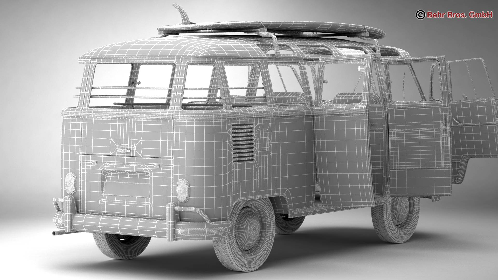 Volkswagen T1 Samba 1963 Accessories 3d model 3ds max fbx c4d lwo ma mb obj 266860